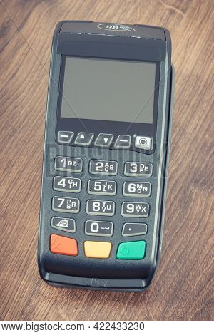 Payment Terminal, Credit Card Reader For Cashless Paying. Finance And Banking Concept