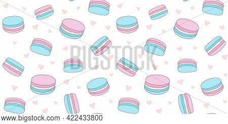 Blue And Pink Macaroons On A White Background With Small Hearts. Endless Texture With French Sweet P