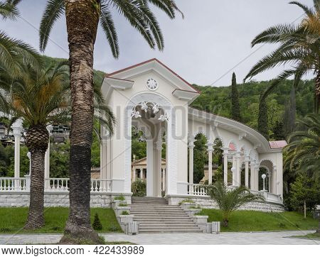 Colonnade In The City Of Gagra, Republic Of Abkhazia. Cloudy Day May 11, 2021