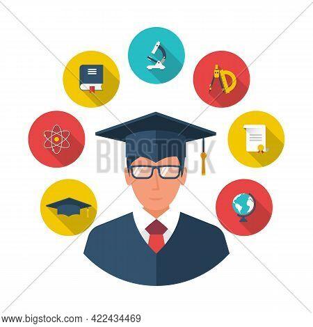 Graduate Student. Avatar Student. Student Icon Flat Design Style. Education Graduation. Isolated Stu