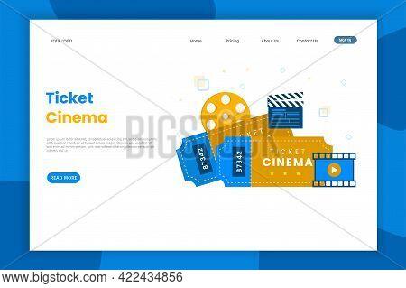 Online Ticket Cinema Illustration For Landing Page