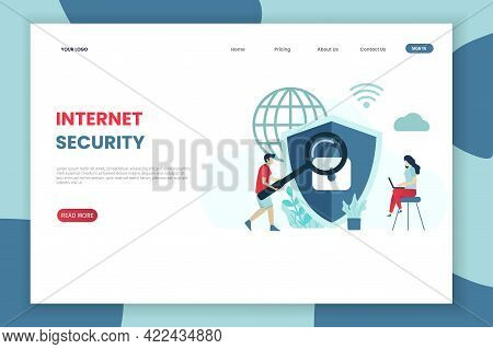 Flat Modern Design Internet Security Landing Page Template.