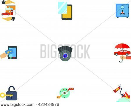 Guard Icon Set. Home Insurance Protector Glass Safe System Of Protection Security Camera Protection