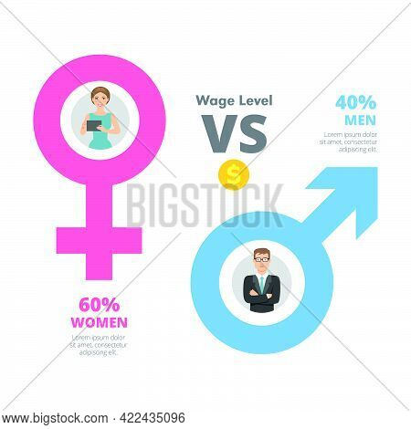 Metaphor Chart With Two Elements. Gender Comparison, Percentage Diagram, Template. Creative Concept