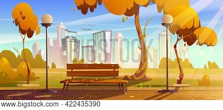 Autumn Park With Orange Trees, Wooden Bench, Lanterns And Town Buildings On Skyline. Vector Cartoon