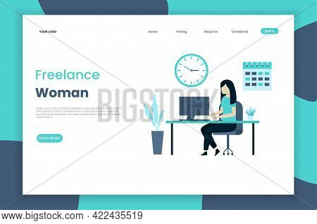 The Concept Of Illustration Of A Freelance Women's Landing Page. Women Work Anywhere. Landing Page T