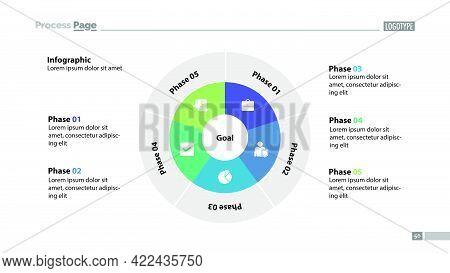 Five Sectors Process Chart Slide Template. Business Data. Goal, Circle, Design. Creative Concept For