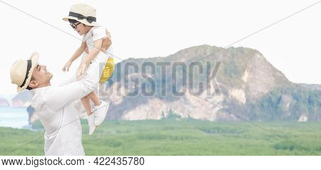 Father Carry Son Asian To Sky For Trip Family Preparing For Traveling We Are Poses Selfie Before Tra