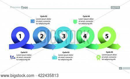 Five Points Process Chart Slide Template. Business Data. Scheme, Diagram, Design. Creative Concept F
