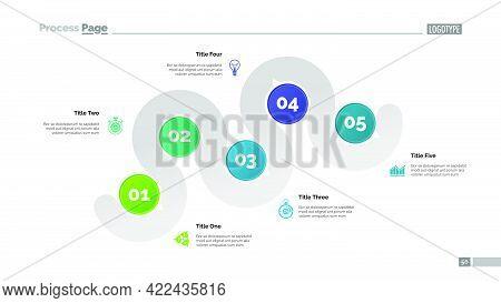Five Points Process Chart Slide Template. Business Data. Step, Infochart, Design. Creative Concept F