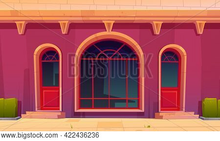 Store Front With Glass Doors And Arch Window In Old Building Facade. Vector Cartoon Illustration Of