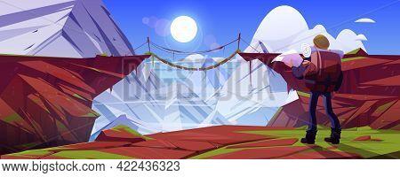 Mountain Landscape With Hiker Man And Suspension Bridge Over Precipice In Rocks. Vector Cartoon Illu