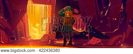 Traveler Man Stand At Teleport Or Magic Portal In Stone Frame Inside Of Mountain Cave. Fantasy Scene