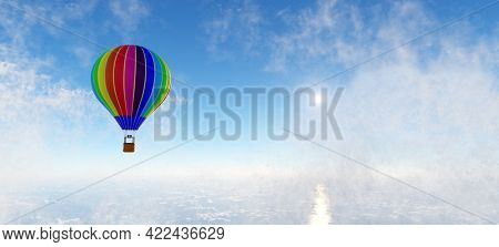 Hot air balloon flying above clouds. Adventure and travel. 3D render