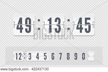 White Scoreboard Number Font. Vector Coming Soon Web Page Template With Flip Time Counter. Vector Il