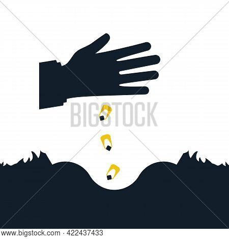 Sows Grain. Man Holds Grain For Sowing. Vector Illustration Flat Design. Isolated On White Backgroun