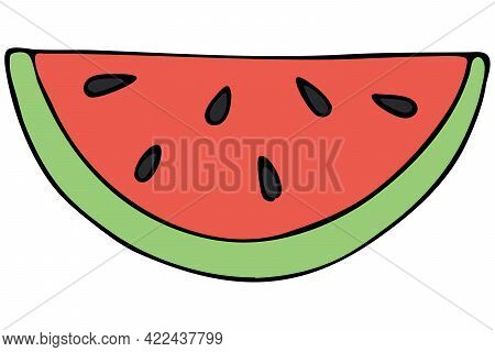 Red And Green Tropical Exotic Fruit - Watermelon Semicircle With Seeds, Vector Color Doodle Element