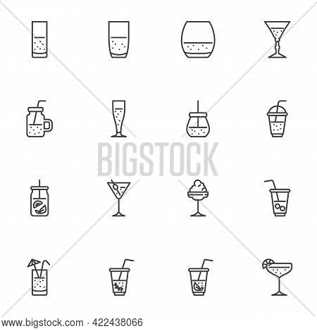 Cocktail Glass Line Icons Set, Outline Vector Symbol Collection, Linear Style Pictogram Pack. Signs,