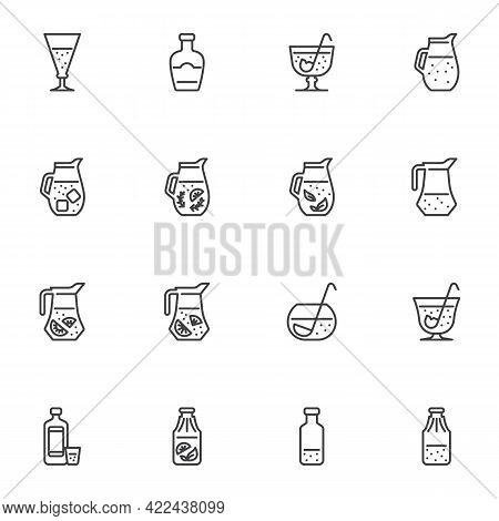 Soft Drinks Line Icons Set, Outline Vector Symbol Collection, Linear Style Pictogram Pack. Signs, Lo