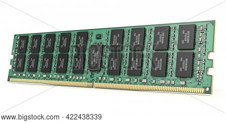 DDR ram computer memory module isolated on white. 3d illustration