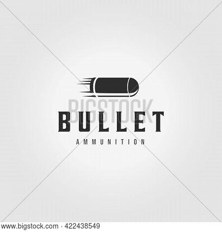 Fast Minimalist Bullet Logo Vintage Vector Illustration Design Ammo Ammunition