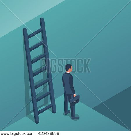 Decision Concept. Decide Direction, Up Or Down. Businessman Standing Choice Of Ways. Defore Choosing