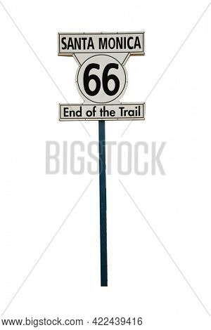 Route 66 Sign. Santa Monica Route 66 End of the Trail sign. Isolated on white. Room for text.