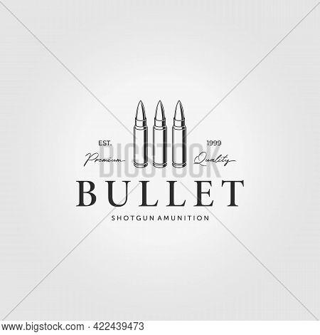 Ammunition Logo Cartridge Bullet Vintage Vector Illustration Design
