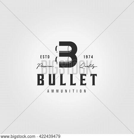 Creative Letter B Bullet Logo Vintage Vector Illustration Design Ammunition Ammo