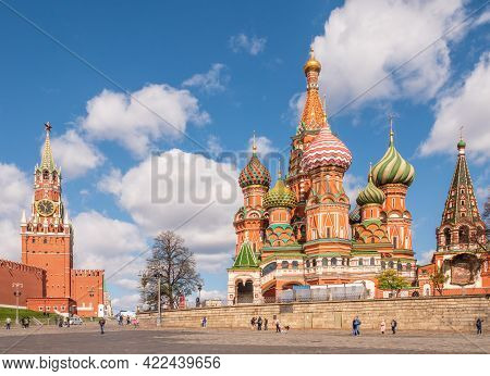 Moscow, Russia - May, 05, 2021: Intercession Cathedral Or St. Basil's Cathedral And The Spassky Towe