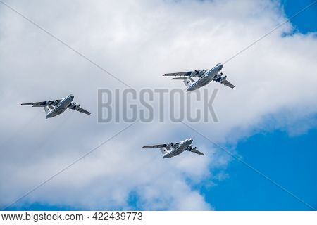 Moscow, Russia - May, 05, 2021: Il-76 A50u Russian Air Forces Will Fly Over Kremlin And Red Square D