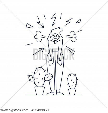 Stress, Mental Disorders, Acute Stress Reaction Vector Illustration. Screaming Woman Is Surrounded B