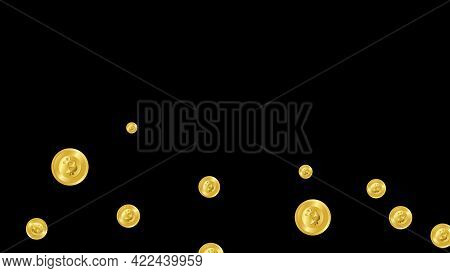 3d Rendering Money Bitcoin Currency Coin Floating Animation On Black Screen Background. Cryptocurren