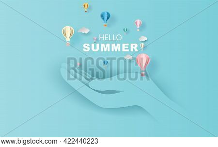 Open The Palm Of The Hand Concept Of Balloon White  Floating And Gift Box On In The Air Blue Sky Bac