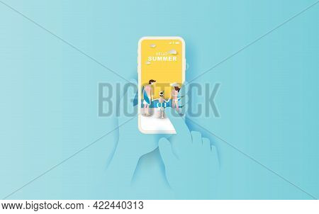 Illustration Of Hand Holds Smartphone With Hello Summer Application. Summer Season With Rear View Fa