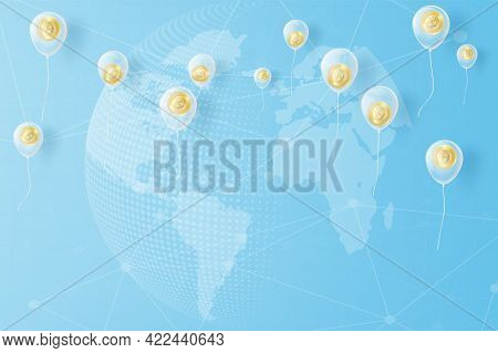 Bitcoin Coin Sign Hanging With Golden Yellow Balloon, Concept And Paper Art Idea. Bitcoin Paper Craf