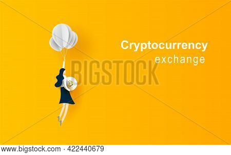 Business Concept Idea.woman Flying With Balloon Hold Bitcoin Coin. Symbol Of Innovation.start Up For