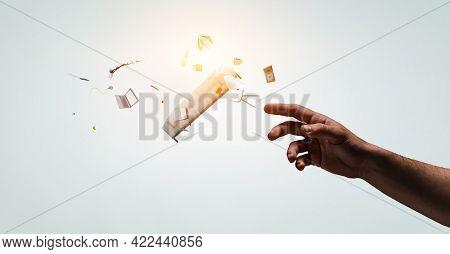 Image of flying books . Mixed media