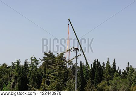 Crane In Preparation For Israeli Independence Day - April 2020, In The National Park Near Military C