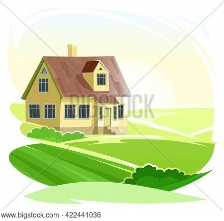 Rural House. Half-turned. In A Fun Cartoon Flat Style. Isolated On White Background. Gable Brown Roo