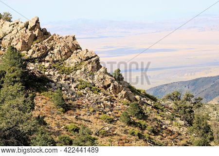 Rugged Mountain Ridge Covered With Chaparral Plants And Pinyon Pine Trees Overlooking The Rural Moja