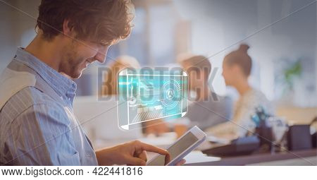 Composition of interface displaying research information over smiling man using tablet in office. global communication and digital interface technology concept digitally generated image.