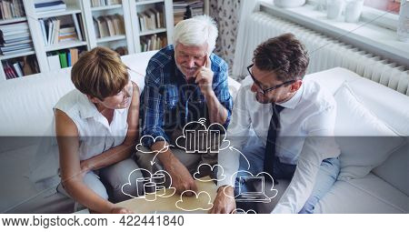 Composition of network of cloud online digital icons over senior couple with financial advisor. global online security, connection, technology and digital interface concept digitally generated image.