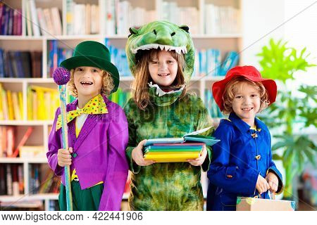 Kids In Book Character Costume. School Dress Up Party. English Language And Literature Study For You