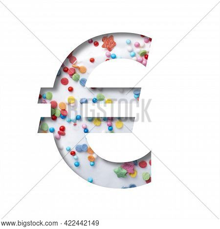 Sweet Glaze Font. Euro Money Business Symbol Cut Out Of Paper On The Background Of White Sweet Glaze
