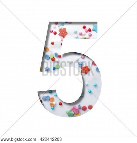Sweet Glaze Font. Digit Five, 5 Cut Out Of Paper On The Background Of White Sweet Glaze With Colored