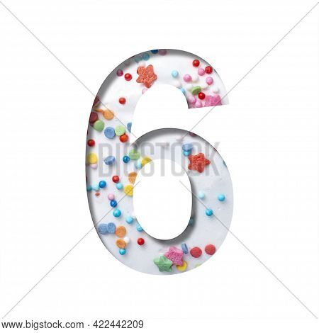 Sweet Glaze Font. Digit Six, 6 Cut Out Of Paper On The Background Of White Sweet Glaze With Colored
