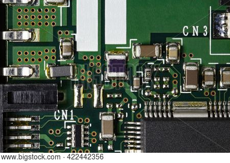 Electronic Printed Circuit Board With Microcircuits Microprocessors And Chips, Top View, Close-up.