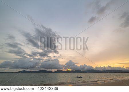 Scene Of Landscape Views Cloud Moving Above Mountain Range In Summer Day,\rnature Rain Cloud Of Natu
