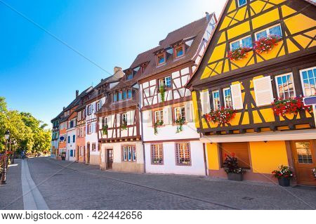 The traditional buildings in the old town of Colmar.